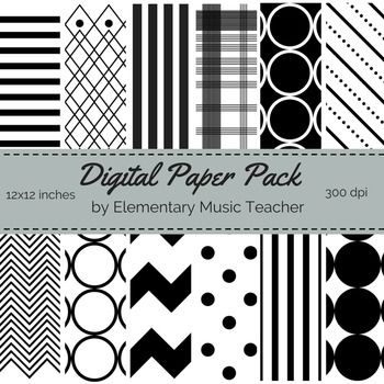 "This is a set of 12 original, black & white digital paper designs! Designs include: polka dots, stripes, arrowhead, chevron, plaid, large circles and more.   Come grab our FREE pack of digital paper in primary colors & chevron!  Product Details:   12 Digital Papers Size: 12 x 12"" at 300 dpi File format: PNG  For personal or commercial use."