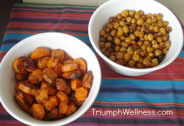 Healthy Vegan Snacking: Oven-roasted carrot coins and spicy roasted chickpeas.