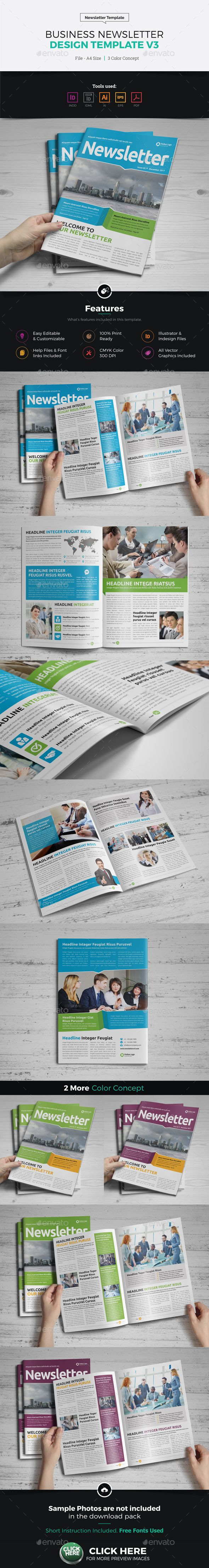 Newsletter Design Template v3 by Jbn-Comilla Business Newsletter Design v3 is Creative, Clean and Modern 8 Pages Corporate & Business Newsletter Design Template. Ready to use