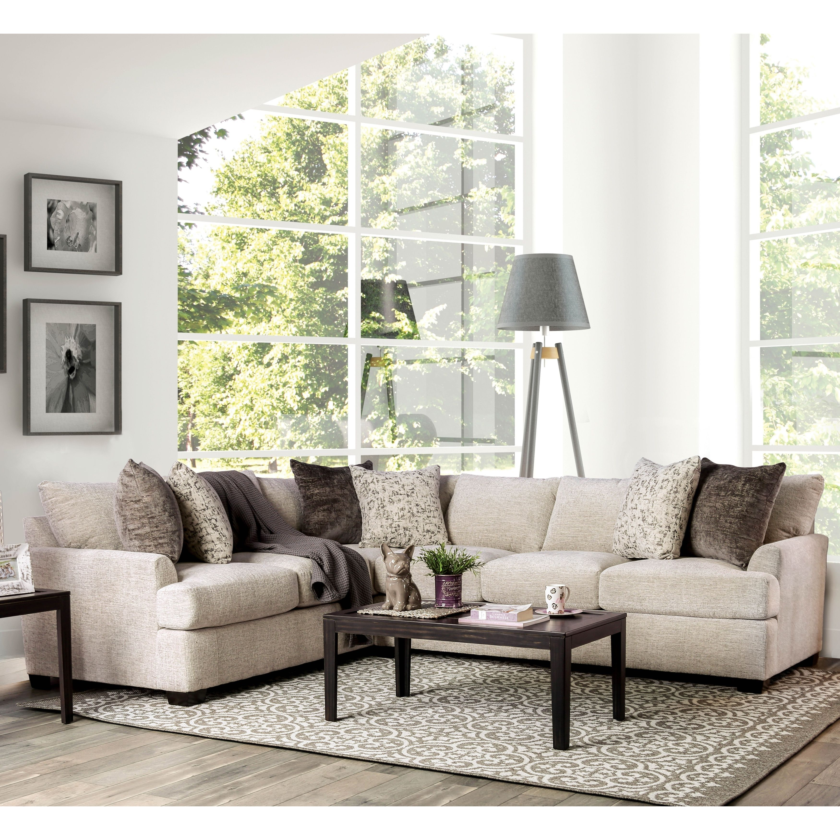 Furniture Of America Sis Contemporary Ivory 3 Piece Sectional Sofa Sectional Sofa Furniture 3 Piece Sectional Sofa