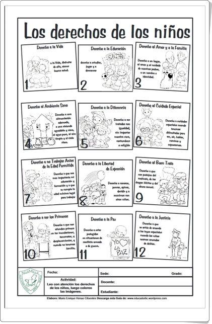 Ficha de los Derechos del Niño para colorear\