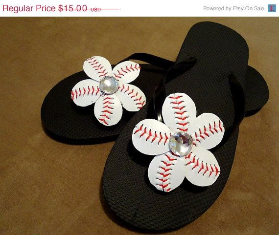 42214ce3e83974 ON SALE Flip Flop Baseball Flower Clips Bling by pinkiedots
