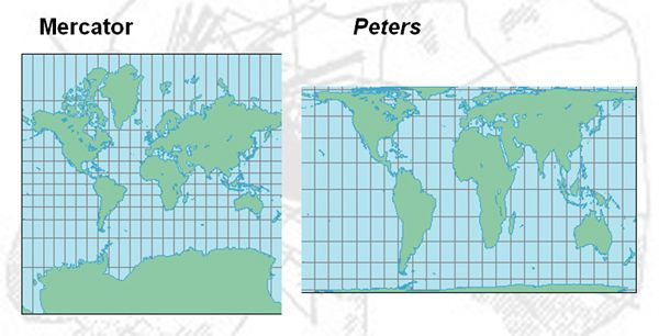 Peters projection map vs mercator figure 4 mercator projection peters projection map vs mercator figure 4 mercator projection left peters world gumiabroncs Image collections