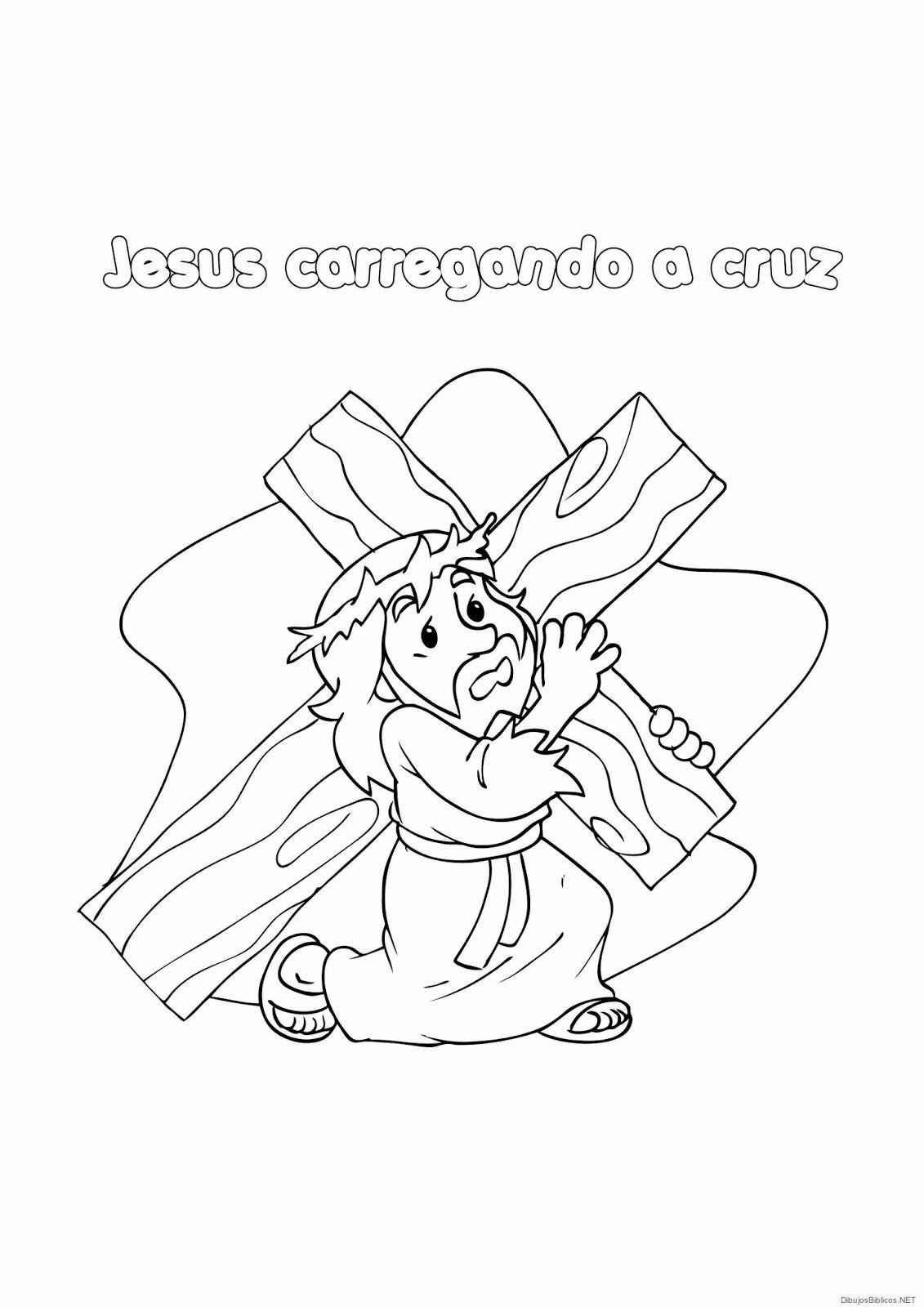 Jesus Carga La Cruz - Dibujos de la biblia   Angeles para colorear ...