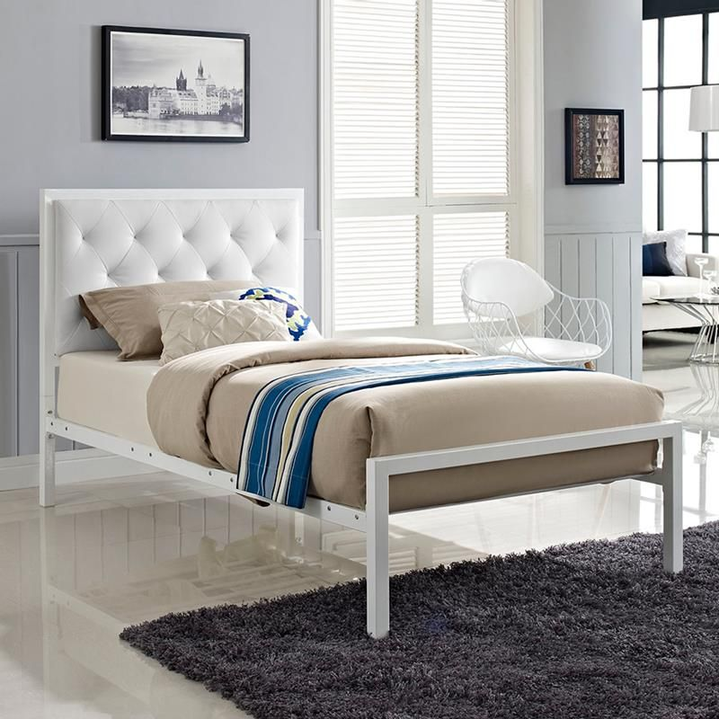 Myles White Twin Platform Bed Fabric Bed Frame Bed Frame And Headboard Steel Bed Frame