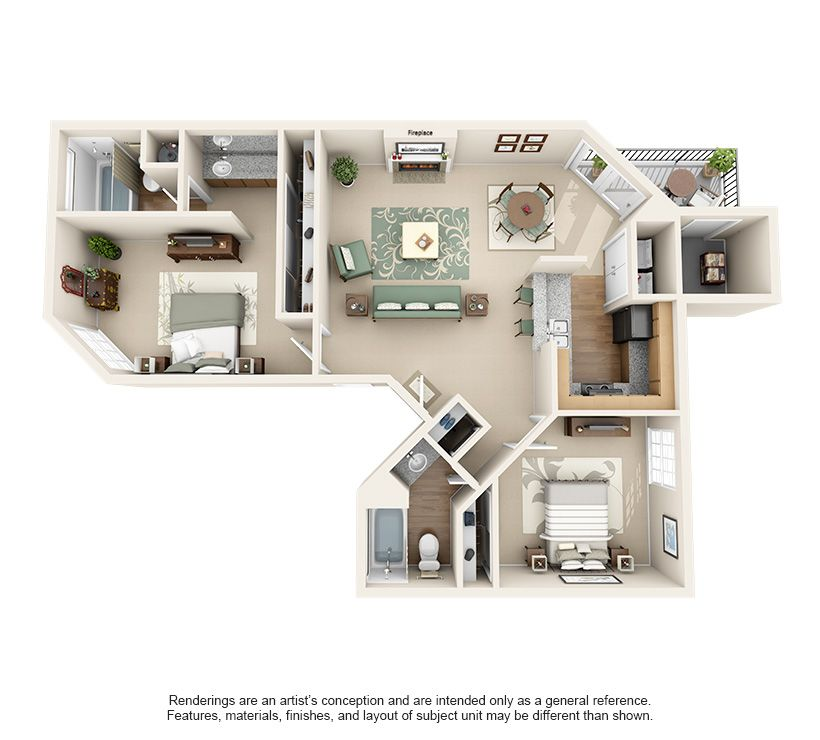 1 2 Bedroom Apartments For Rent Waterford On The Meadow Apartment Floor Plans Floor Plans Apartment Plans