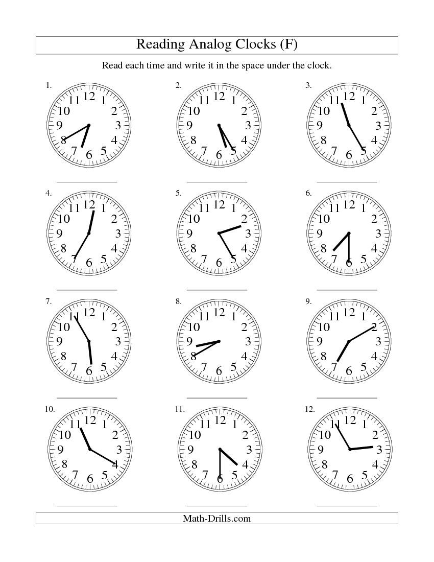 reading time on an analog clock in 5 minute intervals f free worksheet ra o 39 clock. Black Bedroom Furniture Sets. Home Design Ideas