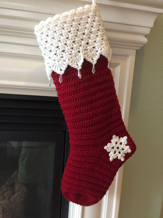 Crochet Christmas Stocking.Crochet Christmas Stocking With Lacy Cuff And Glass Drops