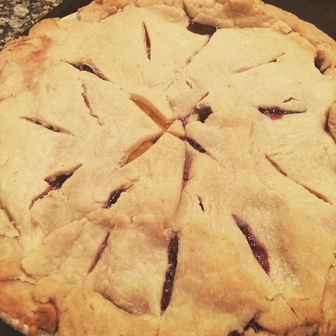 Peach blueberry #pie with fruit from the #parkdalemarket #hintonburg #ottawa #summer