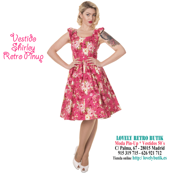 Shirley Vestido 50s Vintage Swing Floral Rosa | Polo Boutique Retro ...