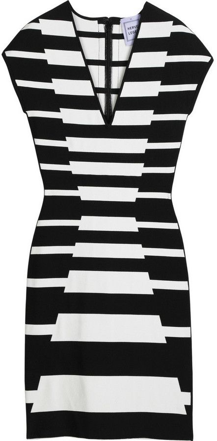 677c5a91462 Herve Leger Striped bandage mini dress on shopstyle.com