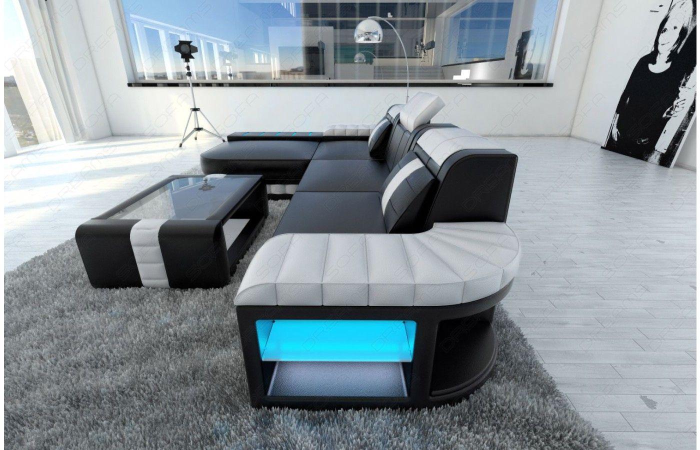 designersofa bellagio led l-form in schwarz-weiß - exklusiv bei ... - Schwarz Wei Sofa