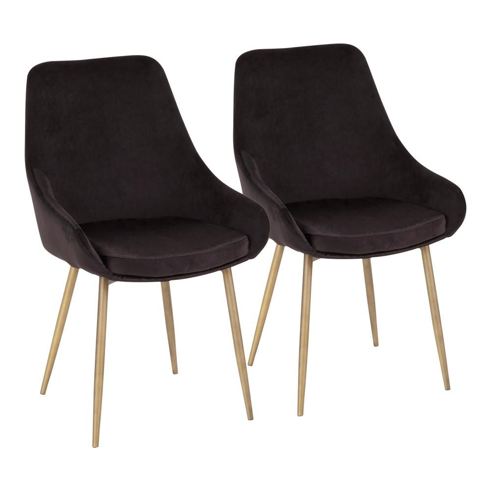 3f64c6fce0d Lumisource Diana Black Velvet and Satin Brass Metal Chair (Set of 2 ...