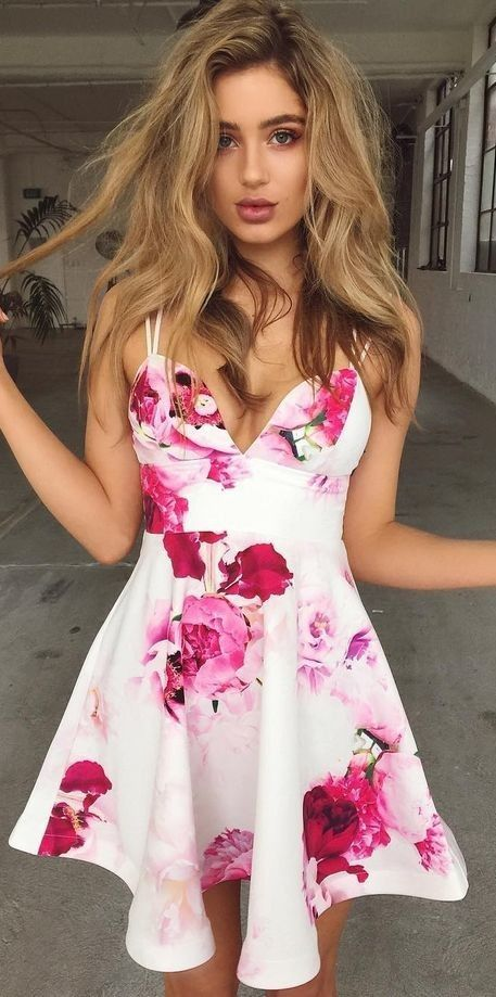 84140bec410 A-Line Straps Short Sleeveless Flowers Print White Homecoming Dress ...