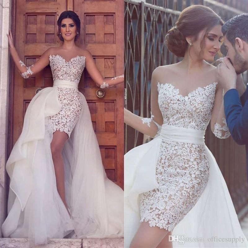 Detachable Tulle Wedding Dress Short Lace Bridal Gown Custom Size 4 6 8 10 12 14 Vestidos De Novia Vestido De Novia Desmontable Vestidos De Novia Cortos Civil
