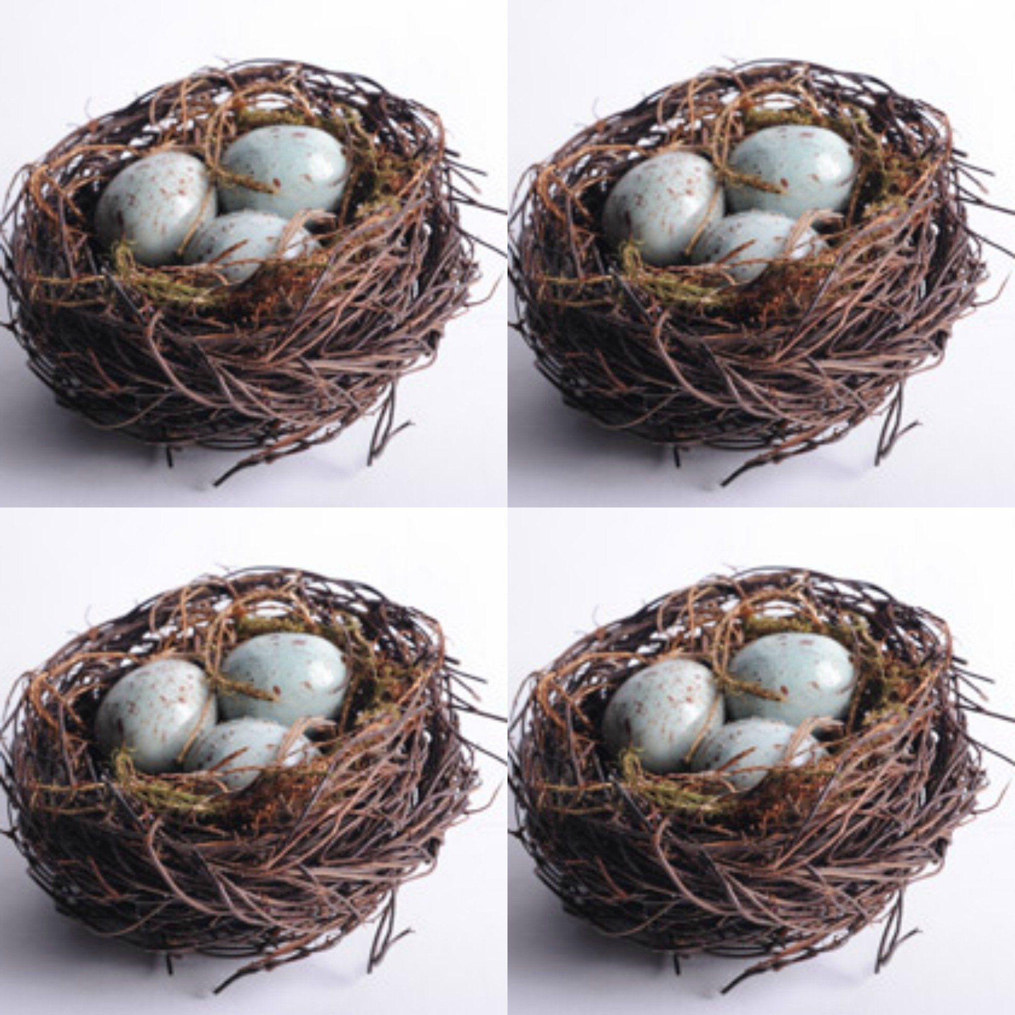 Decorative Bird Nest With Eggs, Set of 4 Decor, Rustic
