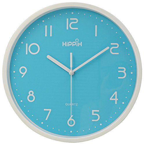 Hippih 10 Silent Nonticking Quartz Digital Wall Clockblue Want To Know More Click On The Image This Is An Affiliate Li Wall Clock Glass Wall Clock Clock