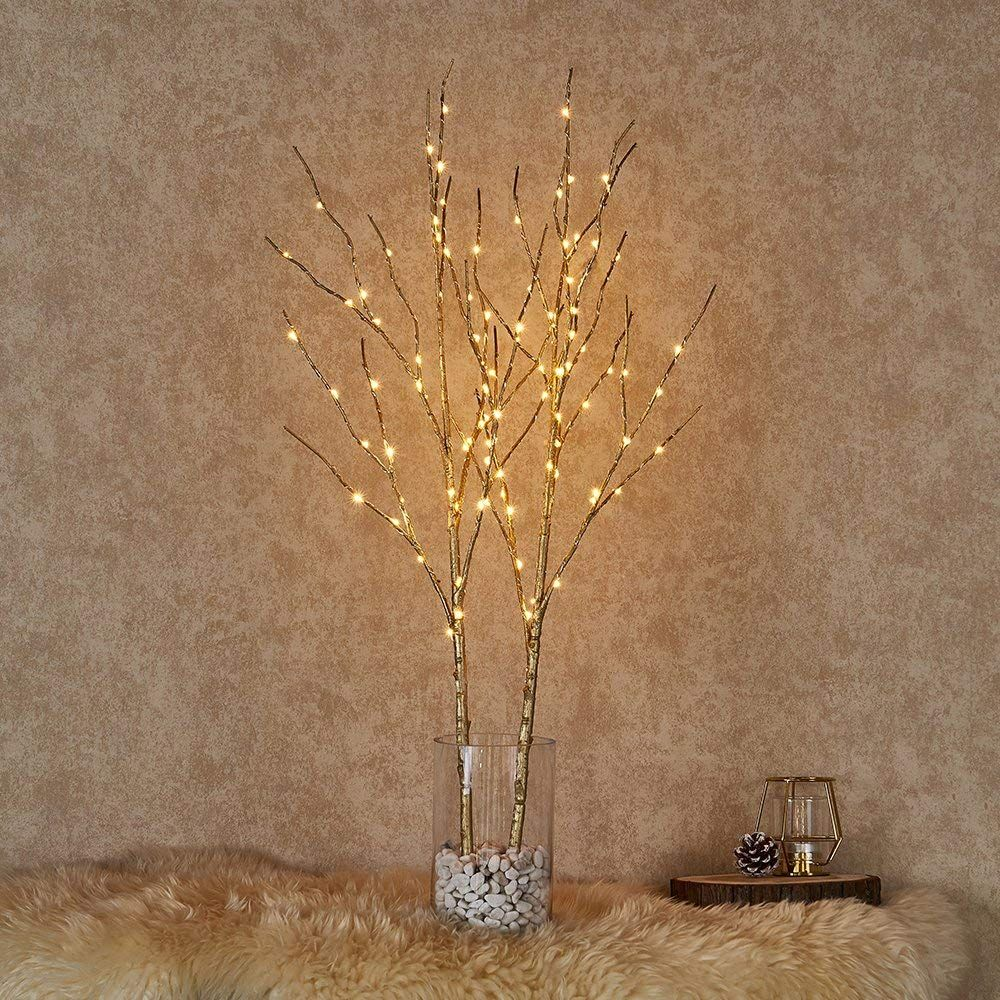 Hairui Tabletop Lighted Golden Willow Branch Decor with