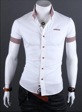 Camisa Casual Slim Fit Manga Corta - Detalle en Bolsillo y Mangas - Blanca fabef6017b5