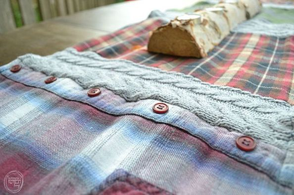 Cozy Table Runner With Old Flannel Shirts And Sweaters