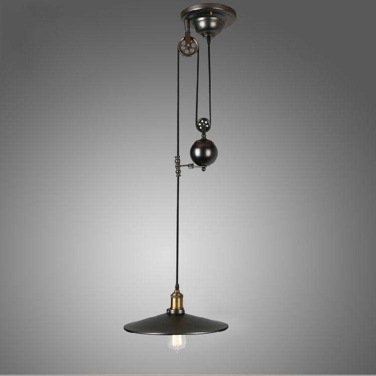 Pulley Pendant Lamp Light Retro Loft Vintage Industrial Home Lighting Fixture E27 Edison Bulbs