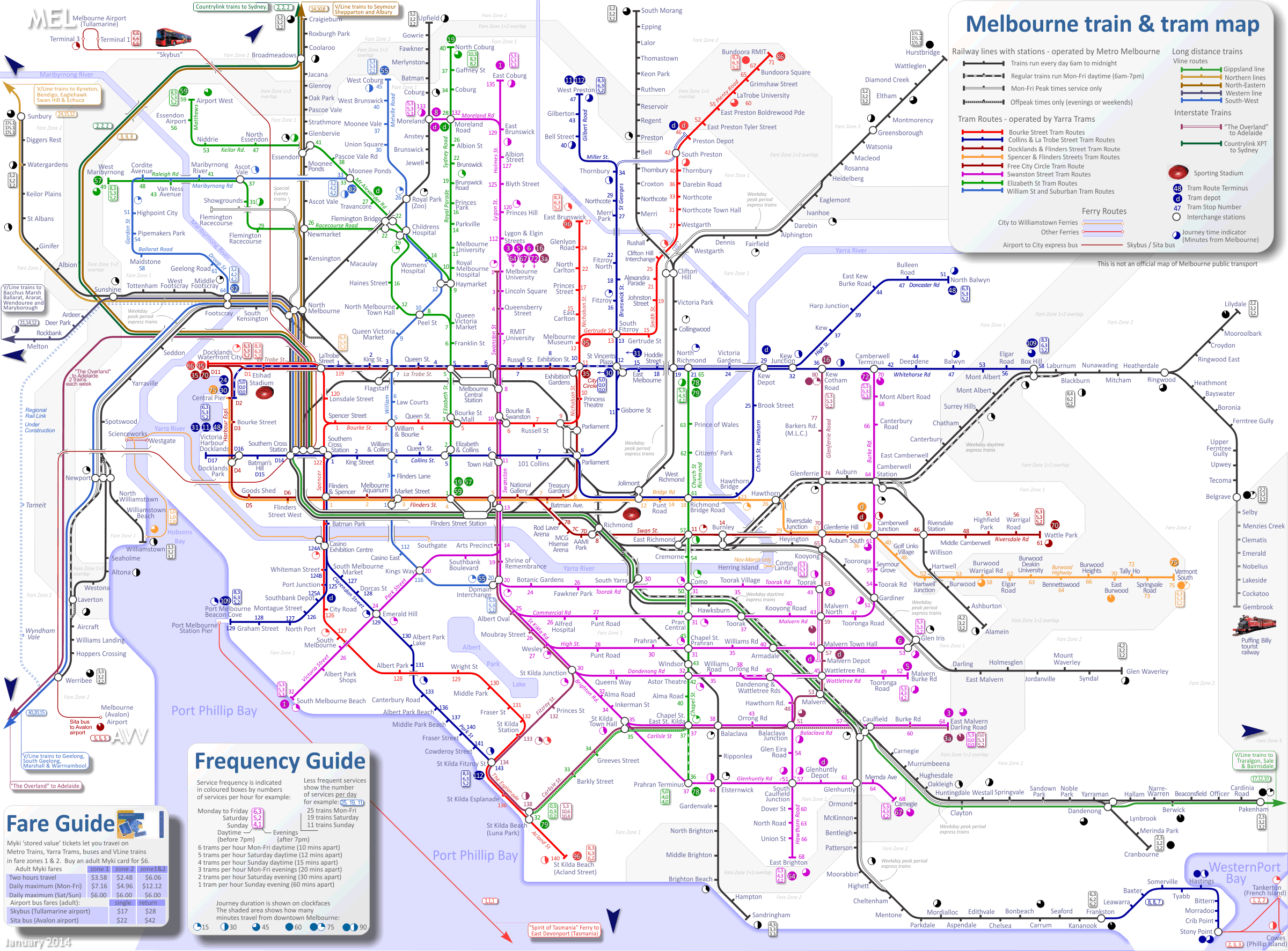Melbourne tram map To be used as part of a lesson showing the