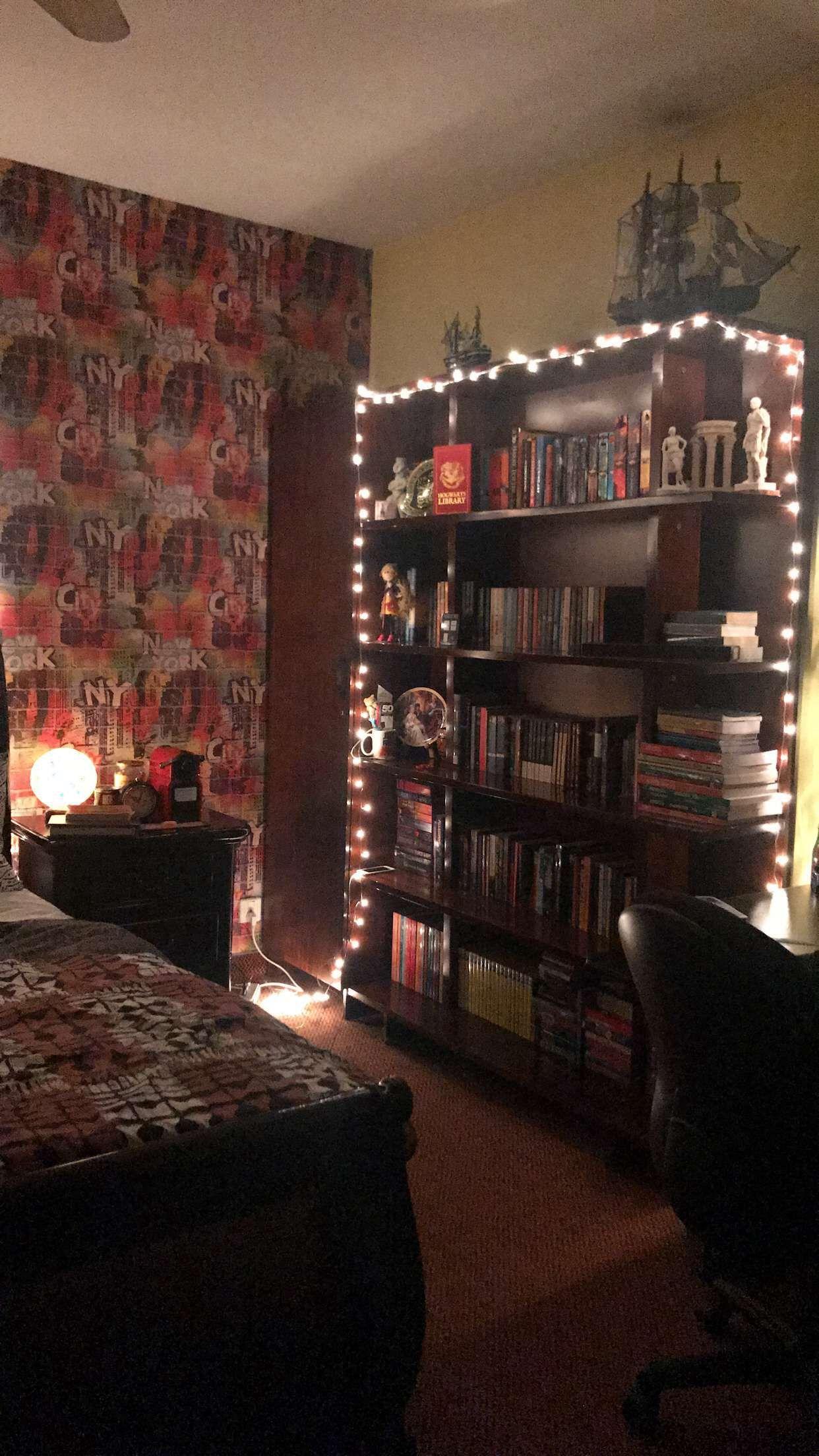 Bookshelf And Fairy Lights Bookish_brews Selfcaresnaps
