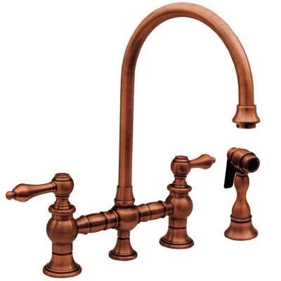 Whitehaus 2-Handle Side Sprayer Kitchen Faucet in Antique Copper ...