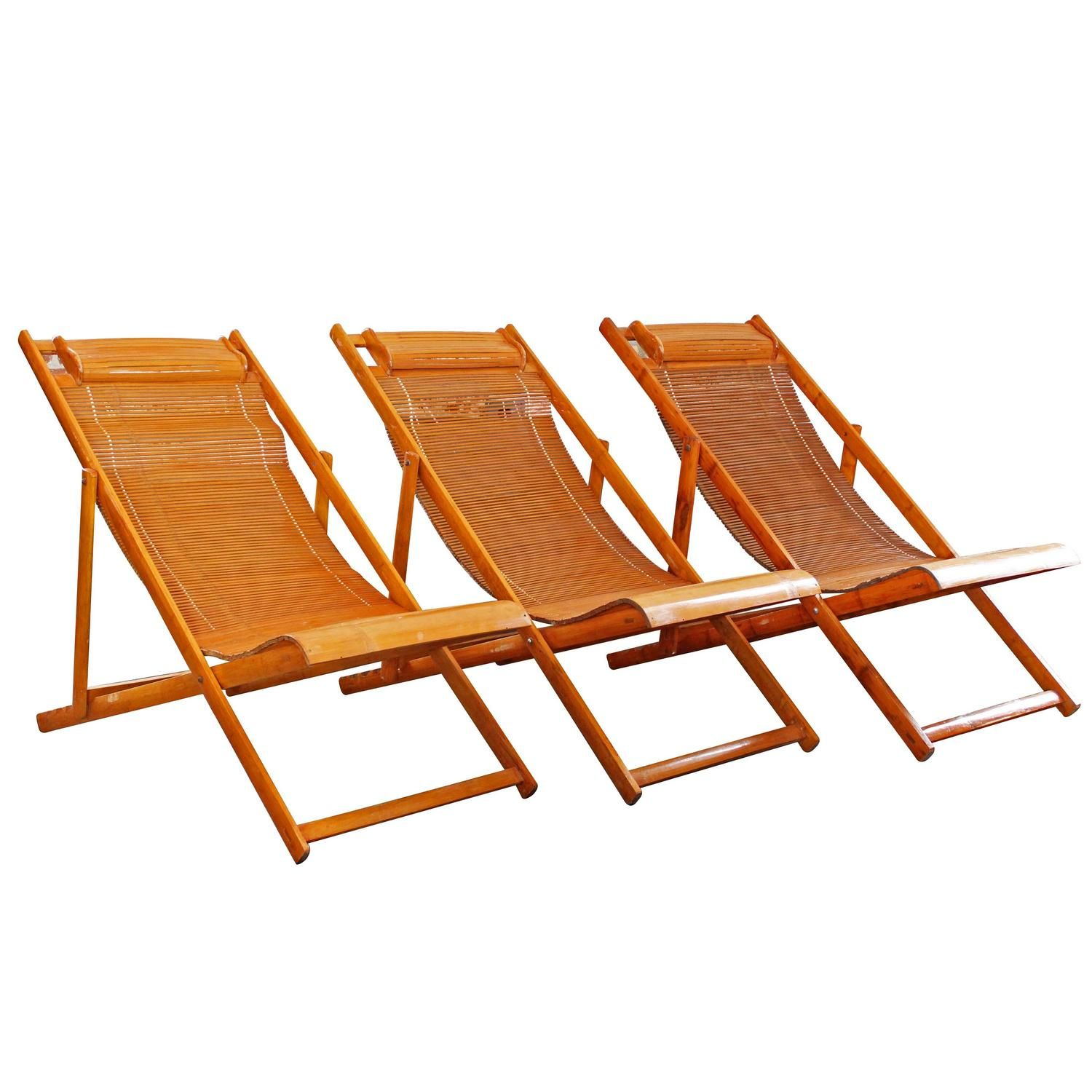 Vintage Bamboo Wood Japanese Deck Chairs, Outdoor Fold Up Lounge Chairs |  From A Unique