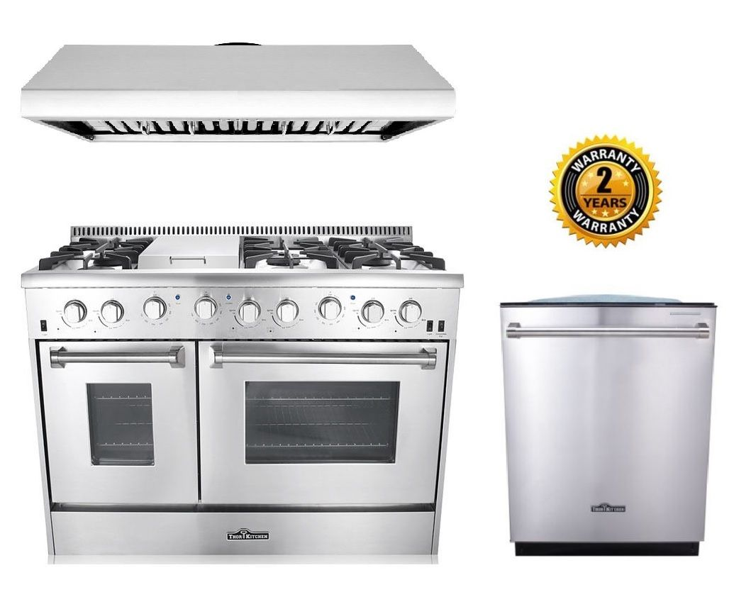 Thor Kitchen 48 Gas Range 3 Piece Kitchen Package In Stainless Steel Gas Range Stoves For Sale Under Cabinet Range Hoods