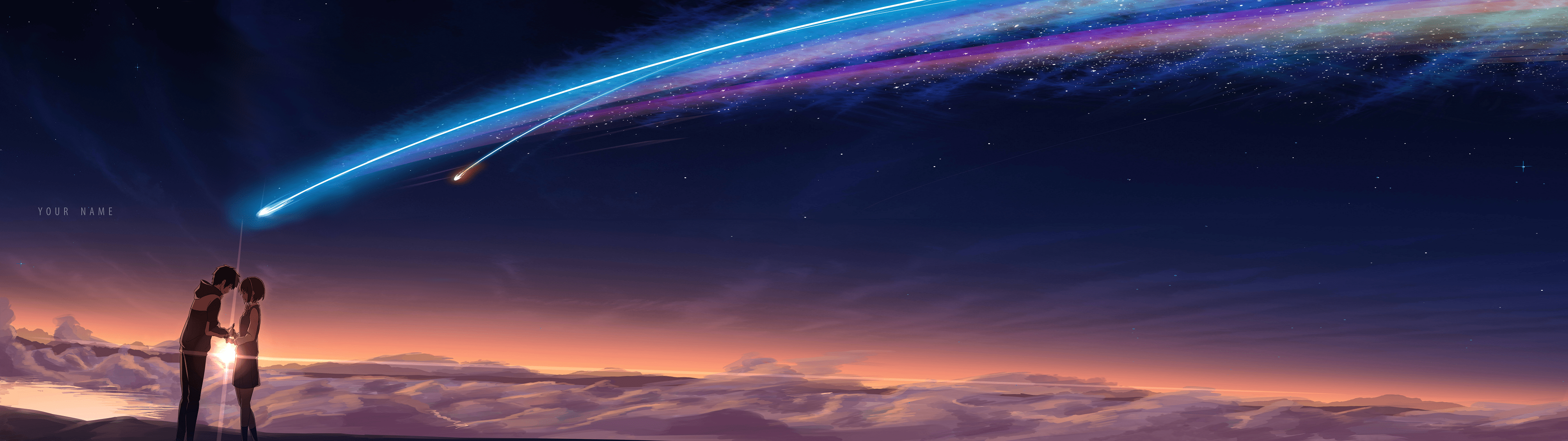 Kimi No Na Wa Your Name My Hastily Done Dual Monitor Edit Of A Widely Available Wallpaper Hd Wa Dual Monitor Wallpaper Dual Screen Wallpaper Wallpaper Space