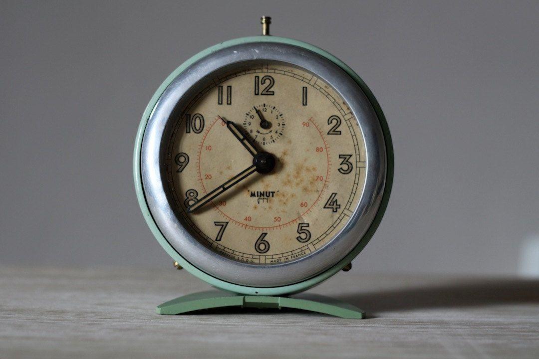 French Vintage Japy Alarm Clock Loft Deco Mid Century Vintage