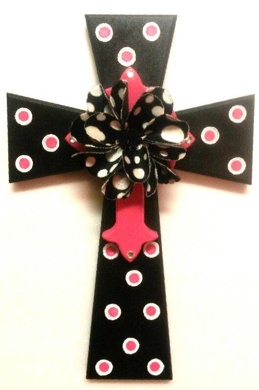 Blk/Hot Pink/Felt Flower Cross