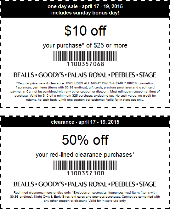 photograph regarding Peebles Printable Coupon identify Pinned April 18th: $10 off $25 much more at Bealls Goodys