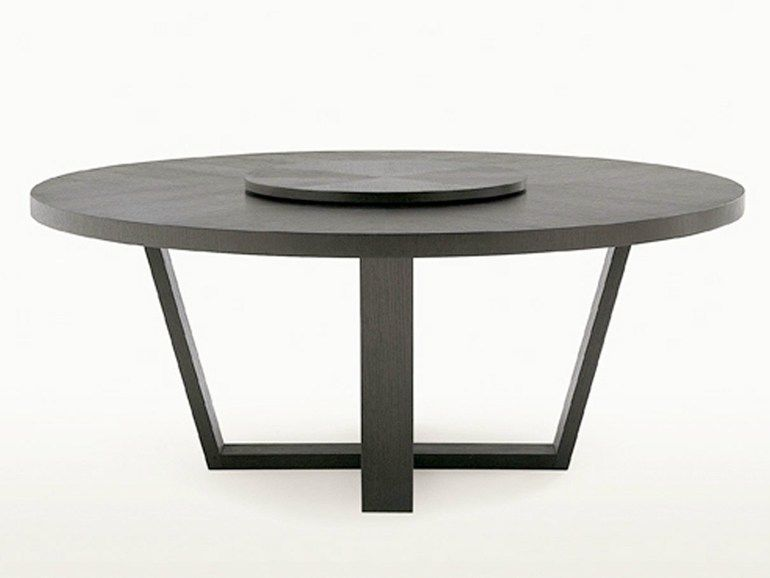 Round Wooden Table With Lazy Susan Xilos Collection By Maxalto A