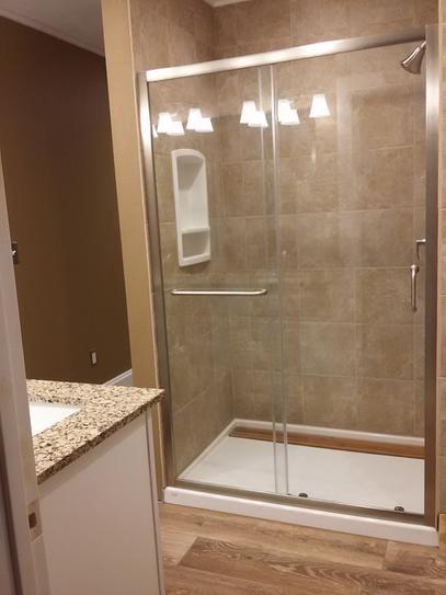 Dreamline Infinity Z 44 In To 48 In X 72 In Semi Framed Sliding Shower Door In Brushed Nickel Shd Shower Doors Bathroom Shower Walls Bathroom Remodel Master