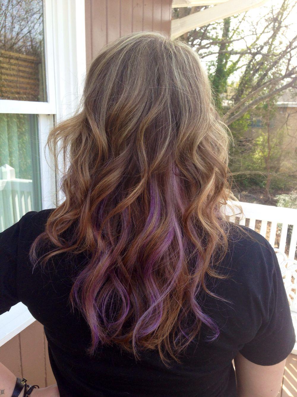 Pastel Purple Highlights On Dark Blonde Curly Hair Purple Hair Streaks Curly Hair Styles Hair Streaks