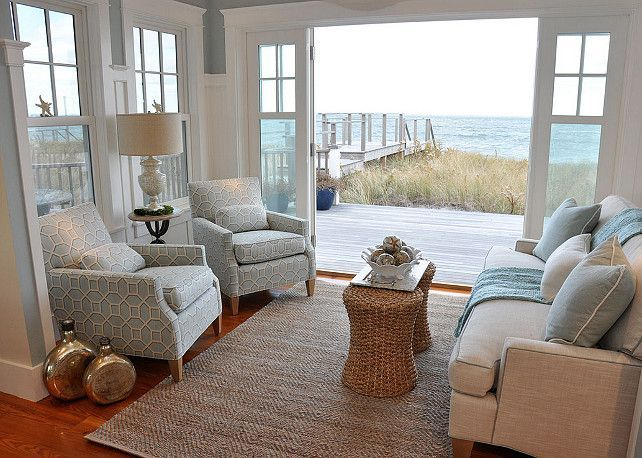Beach House Interior Design Ideas pastel colors and big glass wall in this gorgeous living room inspired by beach house decor Small Interior Design Ideas Smallinteriors Smallspaces Smallinteriordecor