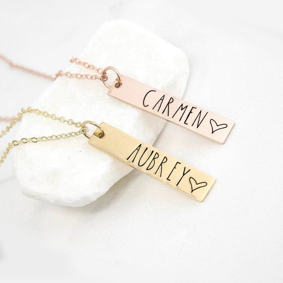 Photo of Personalized Bar Necklace, Minimalist Jewelry, Dainty Necklace, Gifts For Her, N…