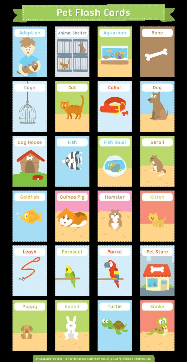 Free printable pet flash cards. Download them in PDF