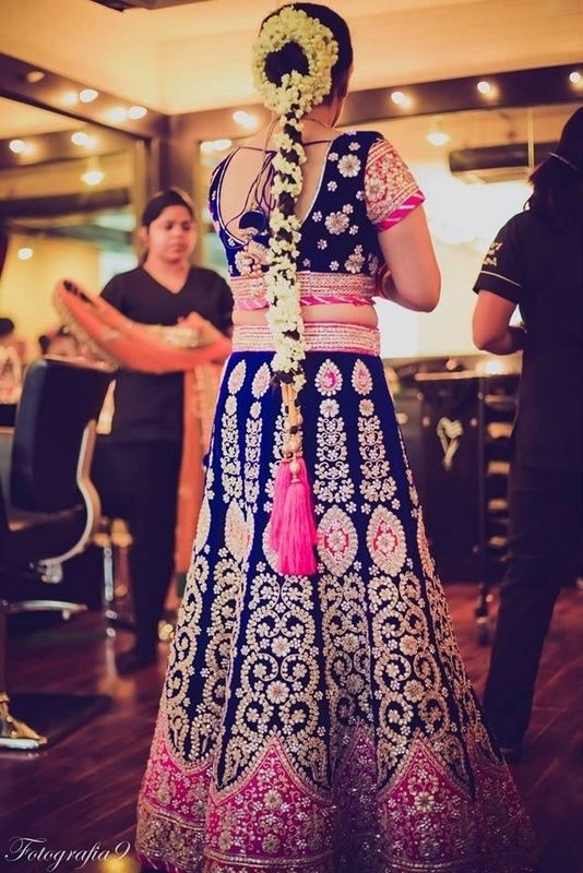 Indigo Blue And Hot Pink Lehenga With Gajra Hairstyle In 2019