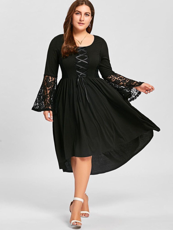 e0ca763048c Plus Size Lace Panel Lace Up High Low Dress - BLACK XL
