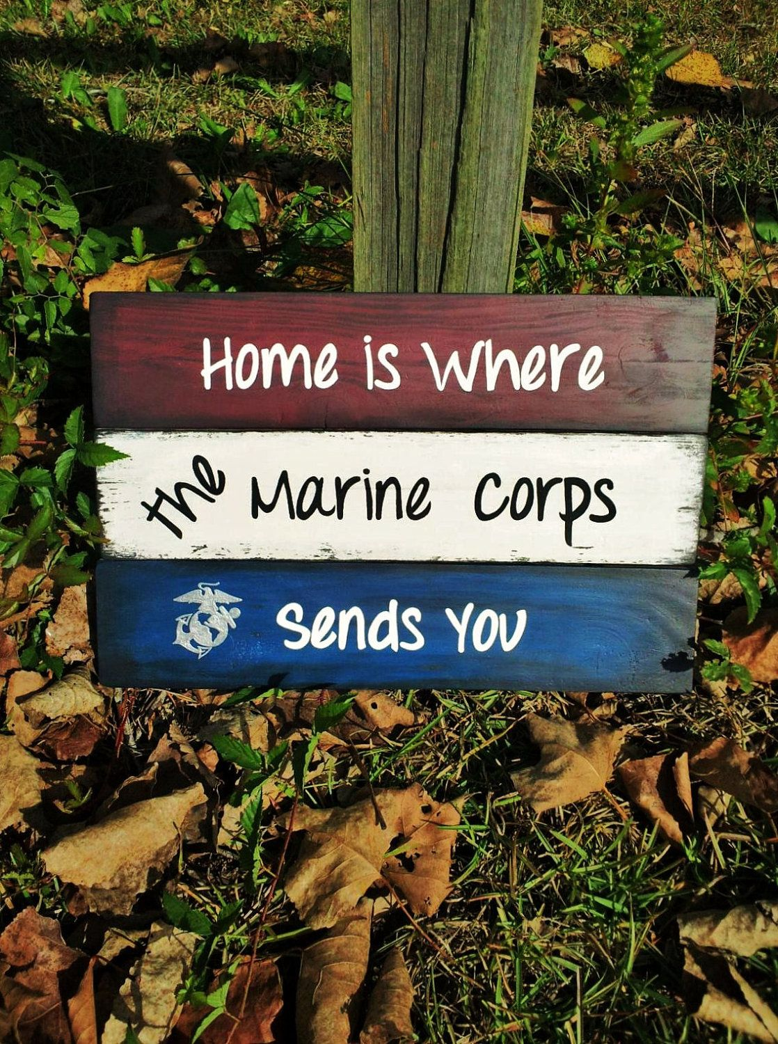 """Marine Corps Quotes Wood Sign """"home Is Where The Marine Corps Sends You""""$19.99 Via"""
