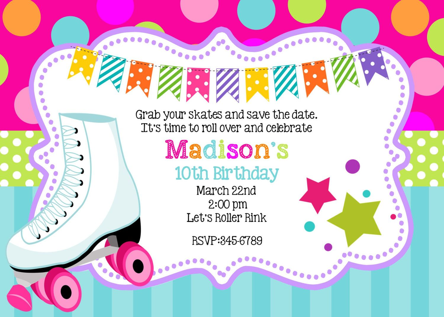 Free Roller Skating Party Invitation Template: | to print ...