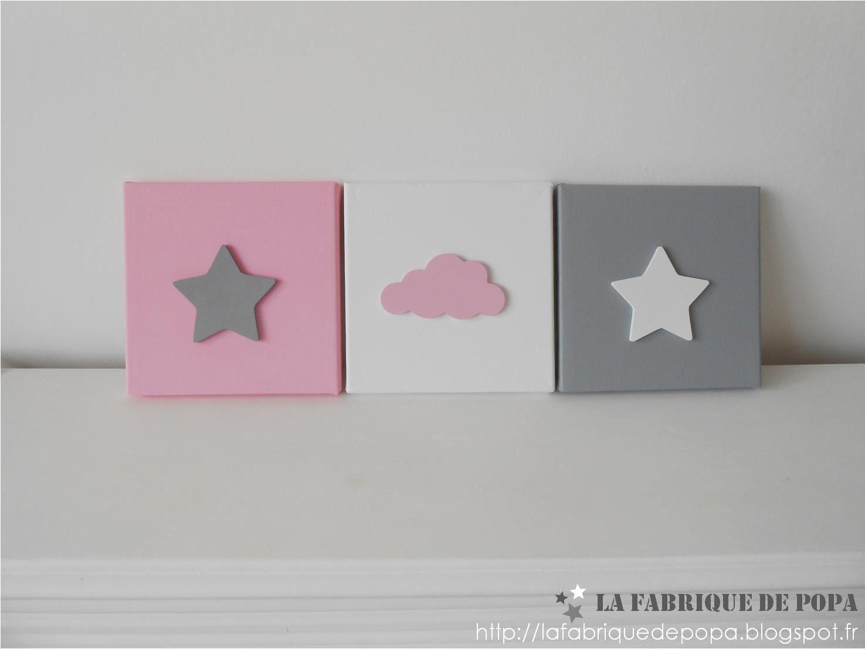 Triptyque 20x20 th me etoile et nuage rose gris blanc for Tableau deco chambre fille