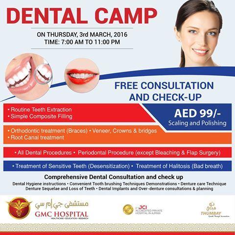 Dental Camp At Thumbay Hospital Ajman Earlier Known As Gmc Hospital Ajman On 3rd March 2016 F Orthodontic Treatment Root Canal Treatment Dental Procedures