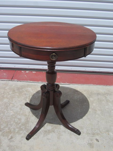 American Antique Round Side Table Lamp Stand Furniture 20 24 High