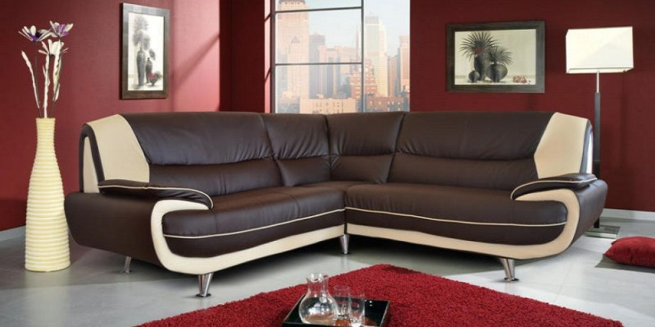 Two Tone Leather Corner Sofa