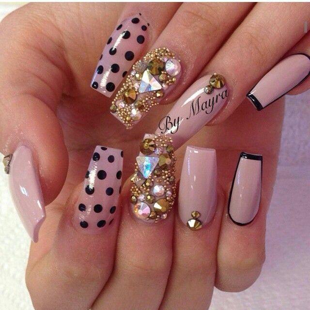 Polka Dot & Rhinestone Square Tip Acrylic Nails | Nails 2 ...