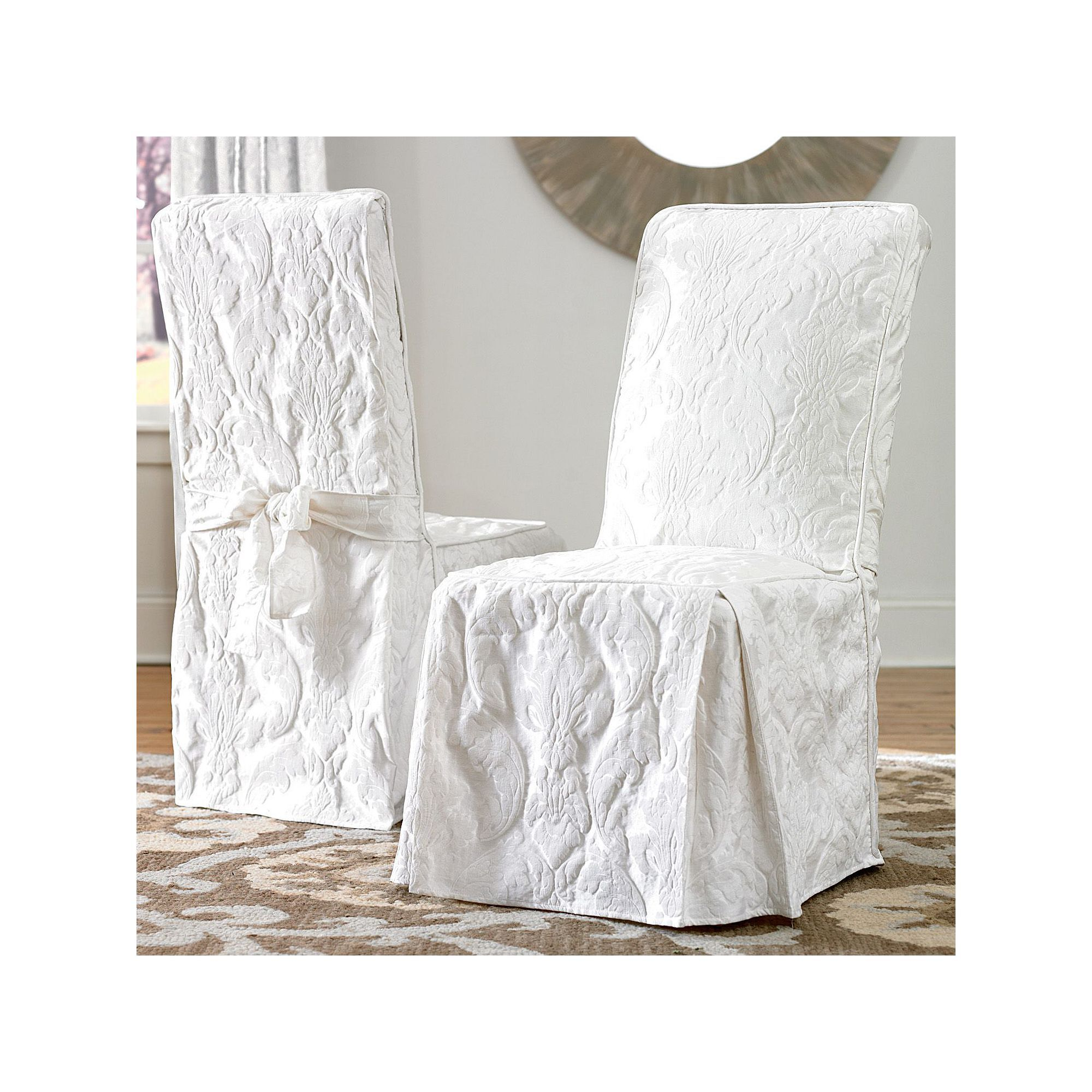 Sure Fit Matelasse Damask Dining Room Chair Slipcover, White